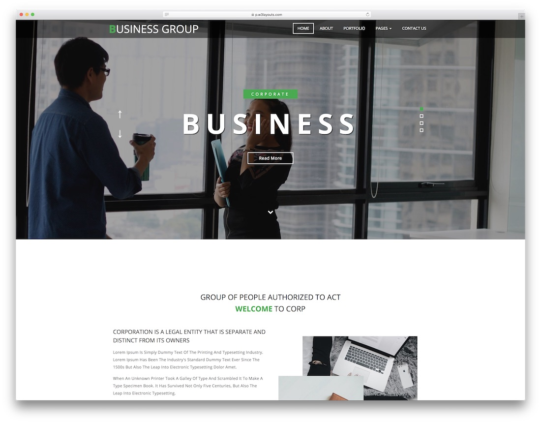 business group free lawyer website template
