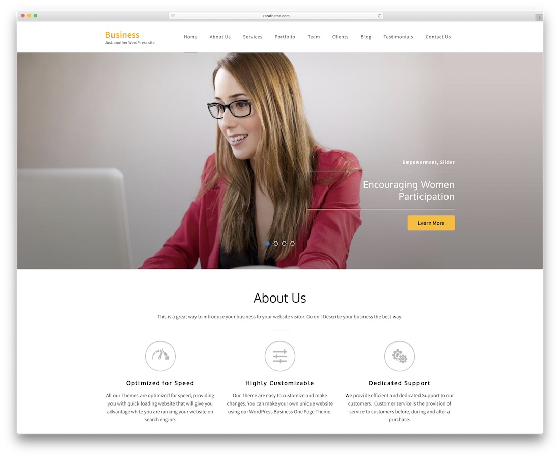 business one page website template