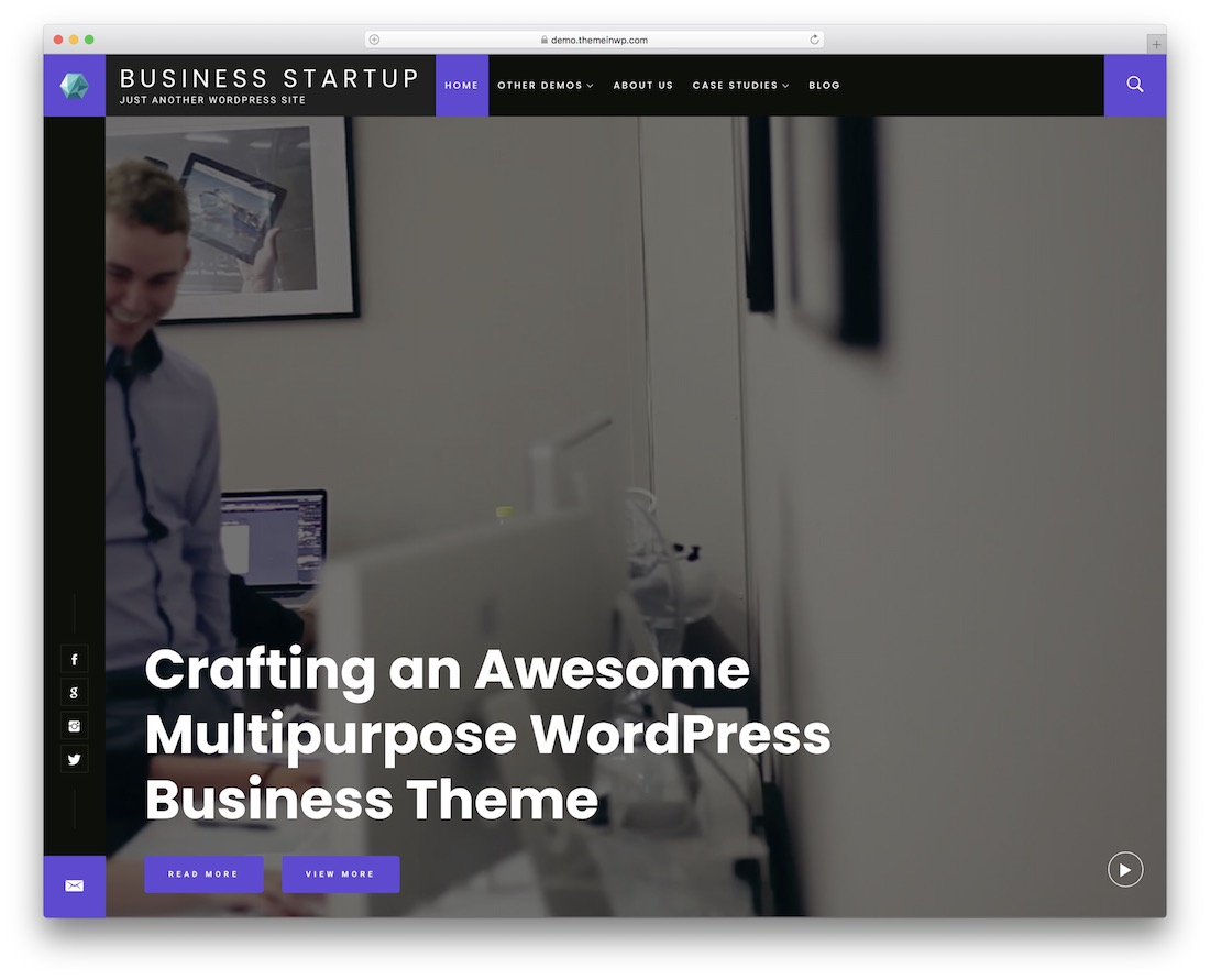 business startup free wordpress video theme