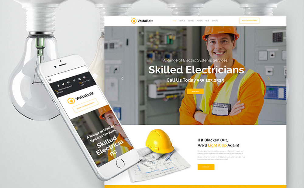 VoltaBolt: Electrician Services Responsive WordPress Theme