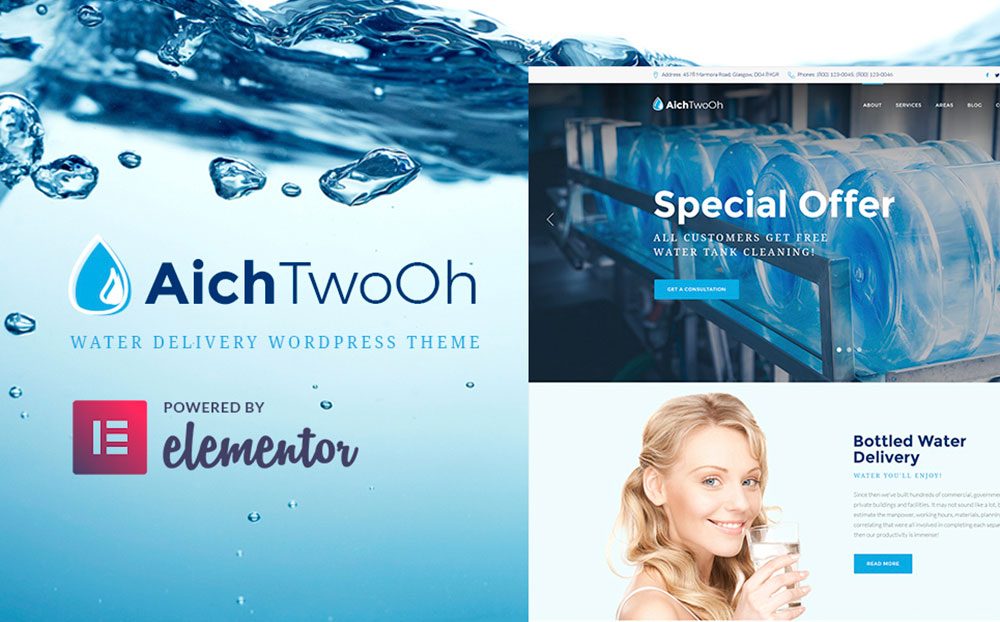 AichTwoOh - Water Delivery WordPress Theme