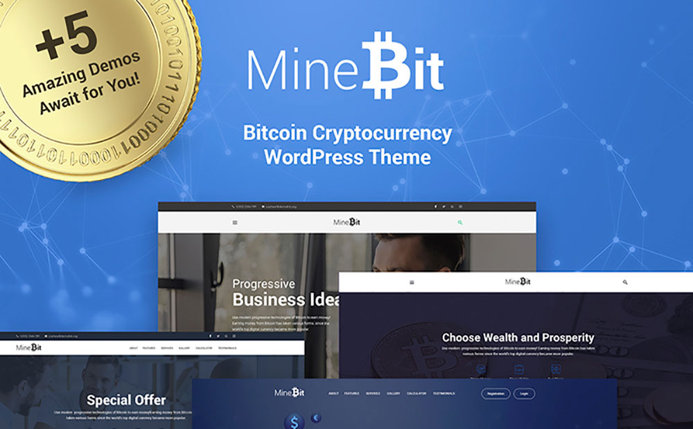 MineBit - Bitcoin Cryptocurrency WordPress Theme
