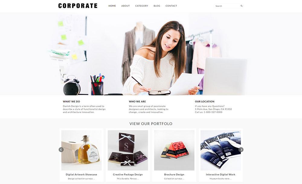 Pure and Lightweight Corporate WordPress Site Design