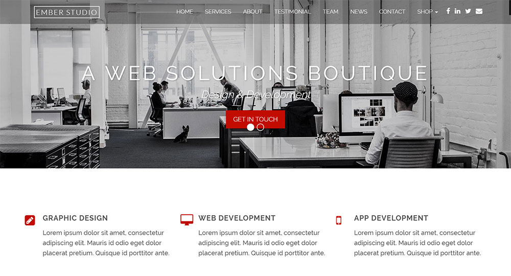 Ember Pro: Web Studio WordPress Website