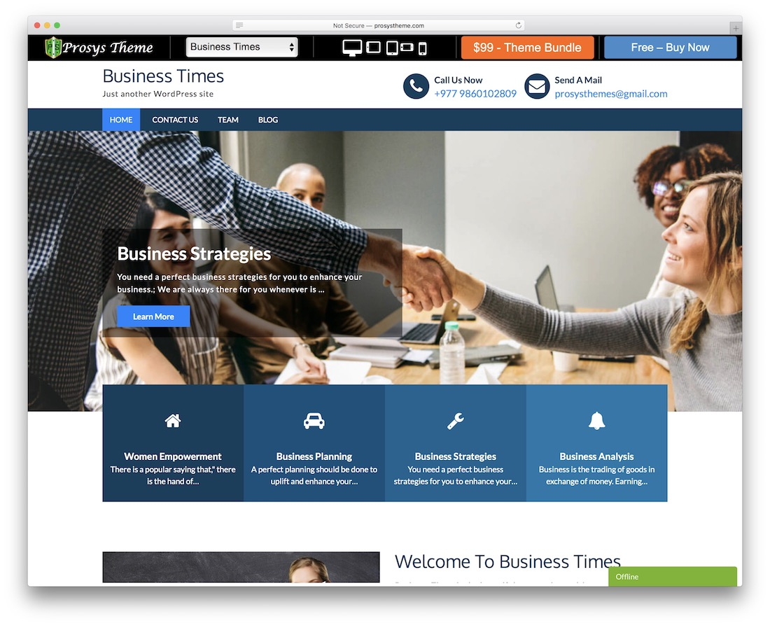 business times free wordpress business theme