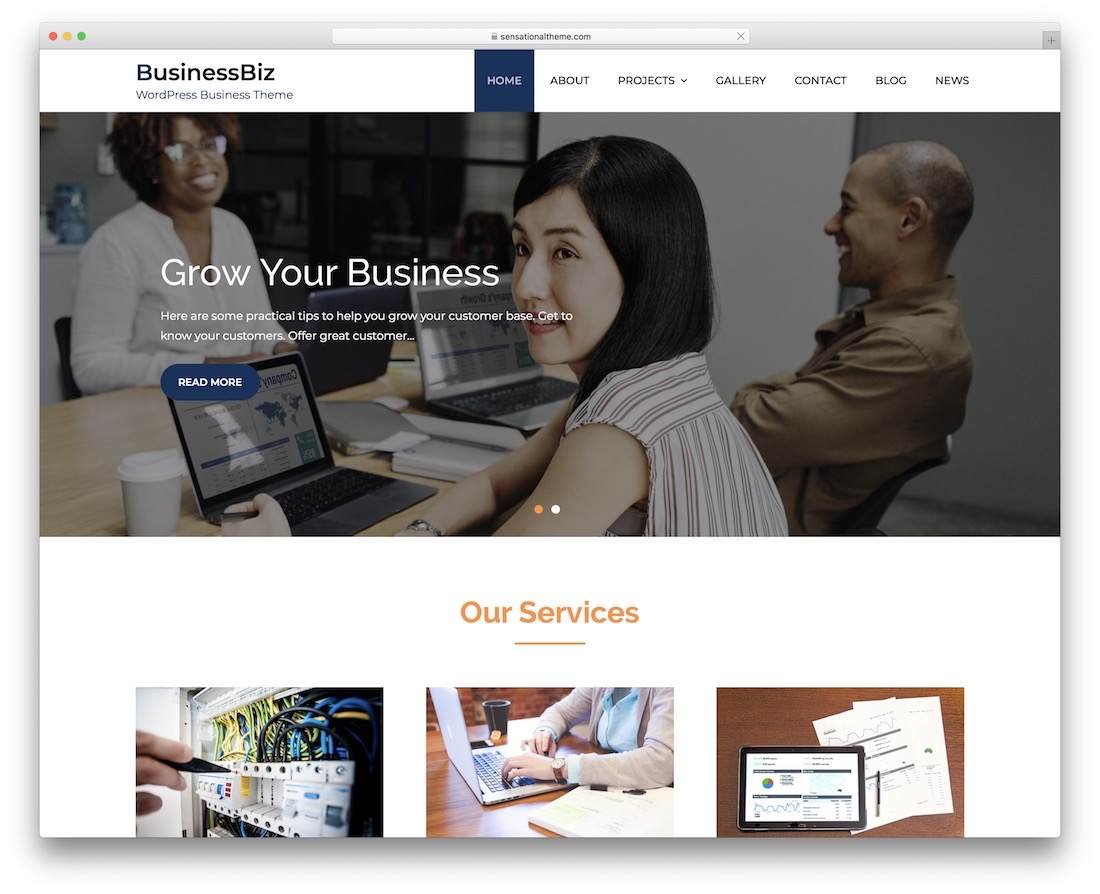 businessbiz free wordpress theme