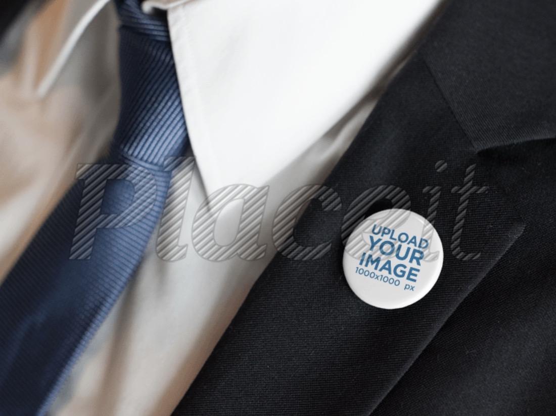 button on a black suit