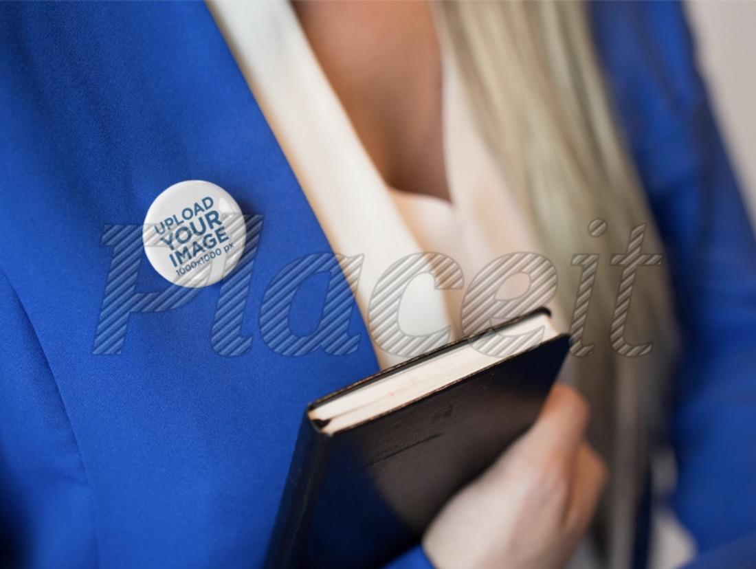 button on a secretary blue suit mockup