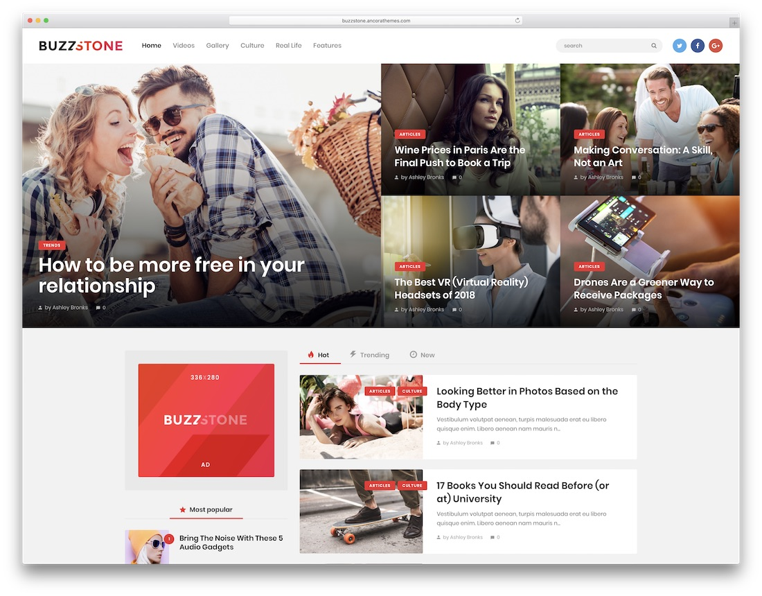 buzz stone wordpress instagram theme