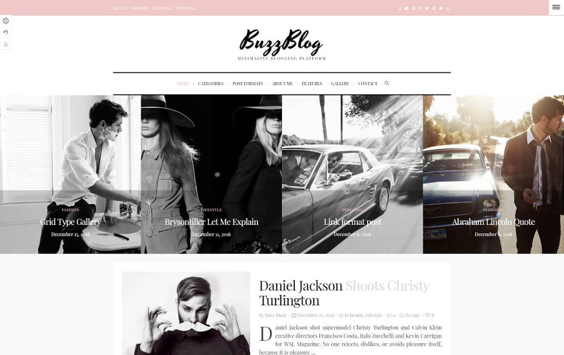 buzzblog wordpress instagram theme