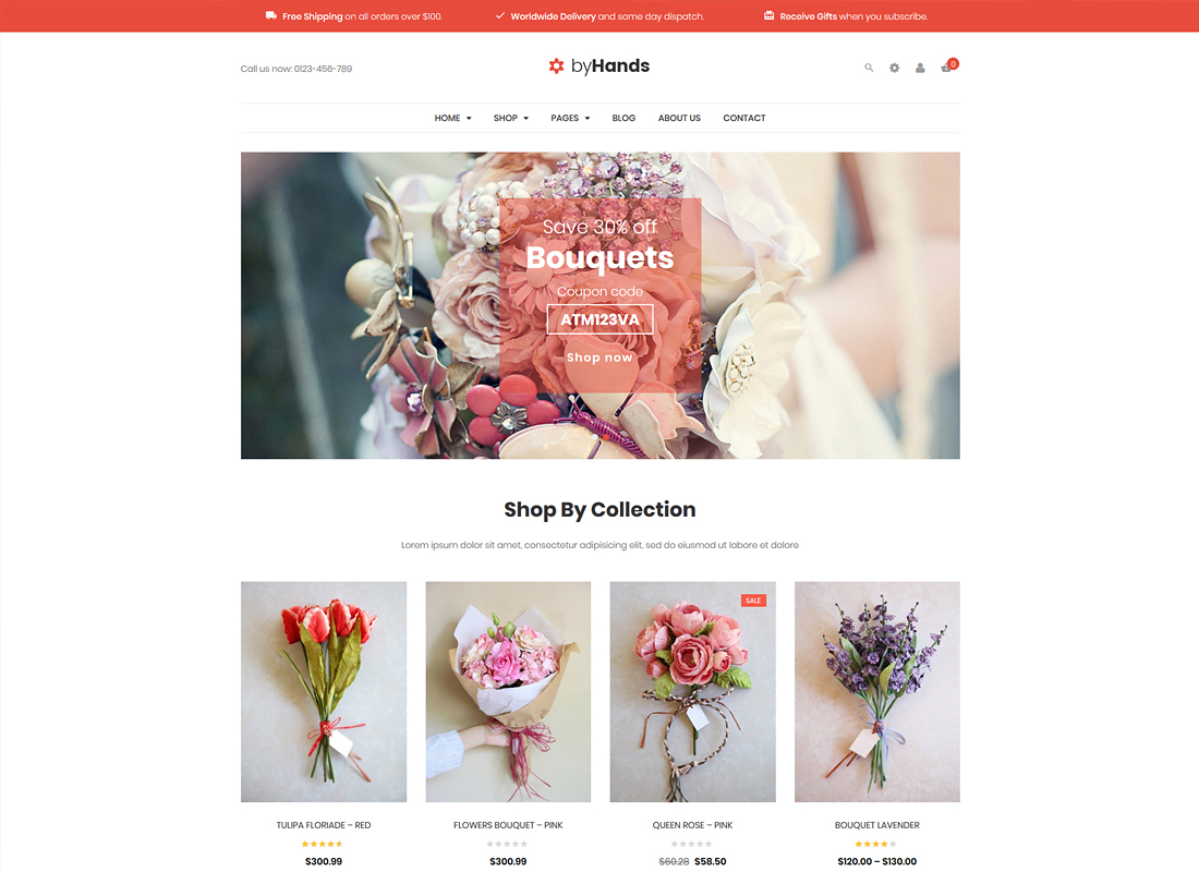ByHands | Flower Store WooCommerce WordPress Theme
