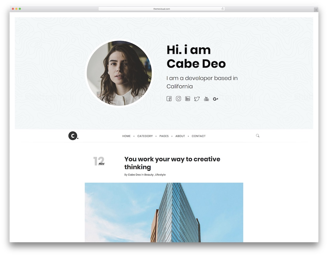 cabe writer website template