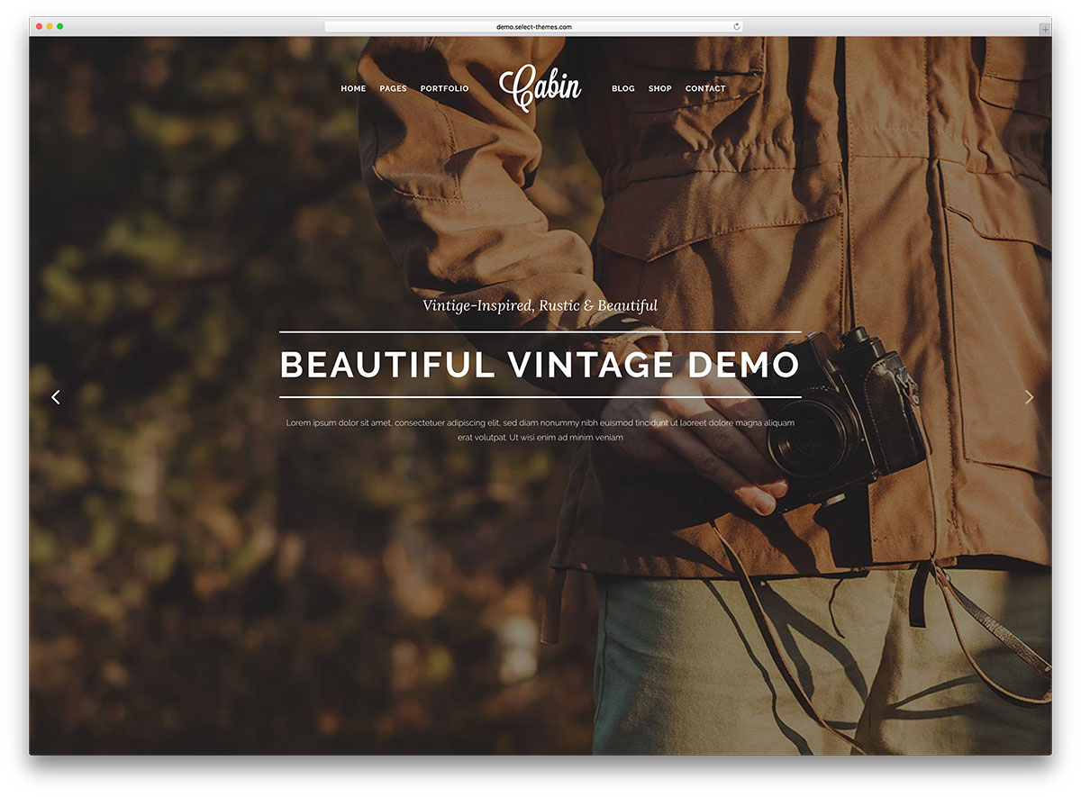 cabin-vintage-wordpress-parallax-website-template
