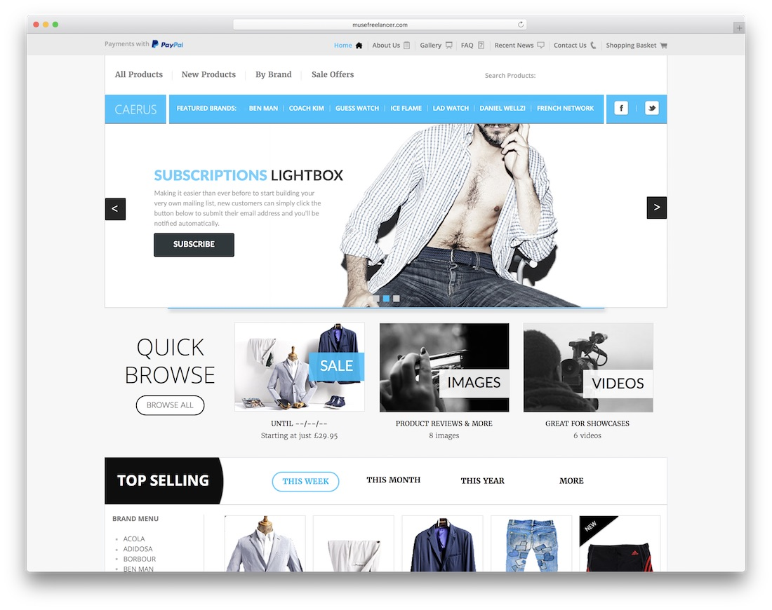 caerus ecommerce adobe muse template