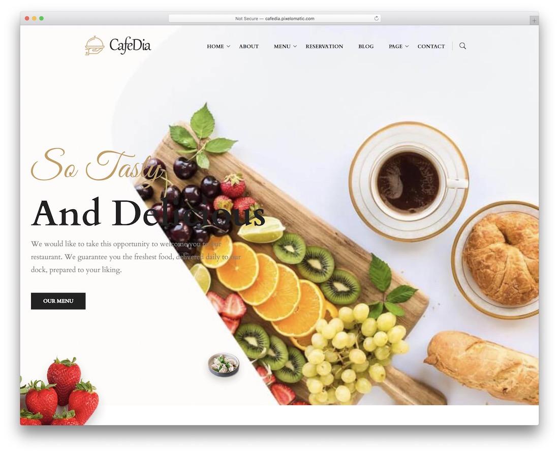 cafedia coffee shop wordpress theme