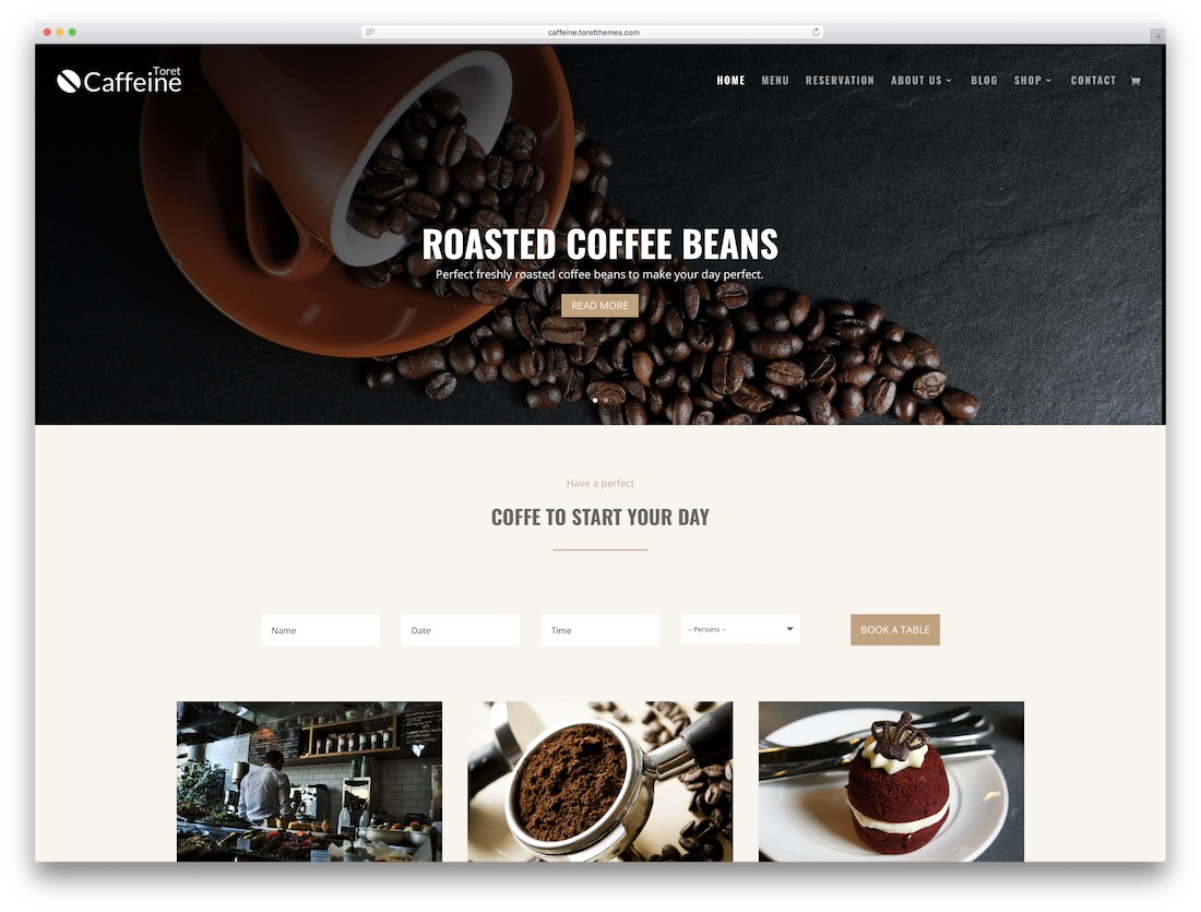 caffeine coffee divi child theme
