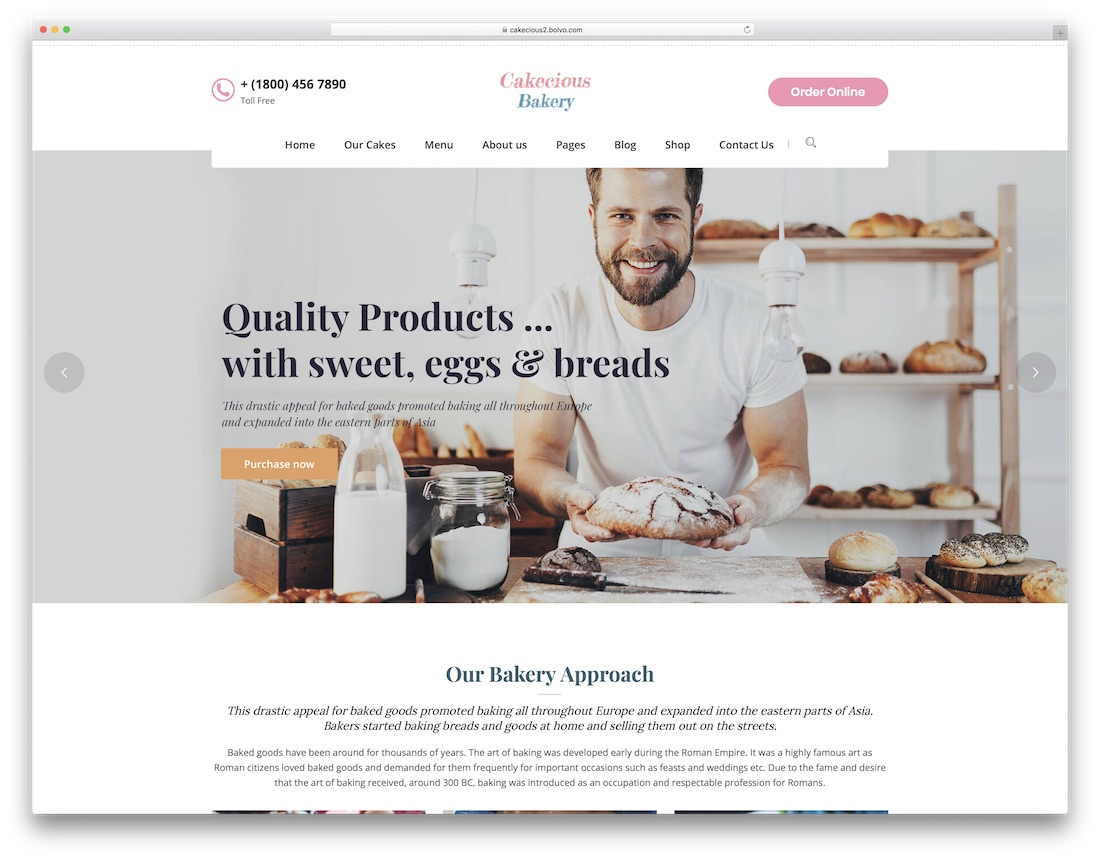 cakecious wordpress theme for bakeries