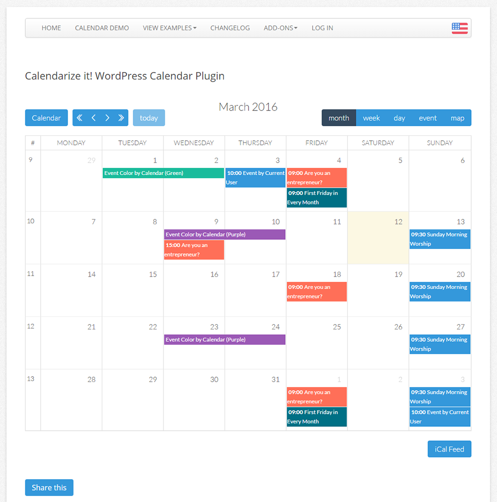 template for calendar of events
