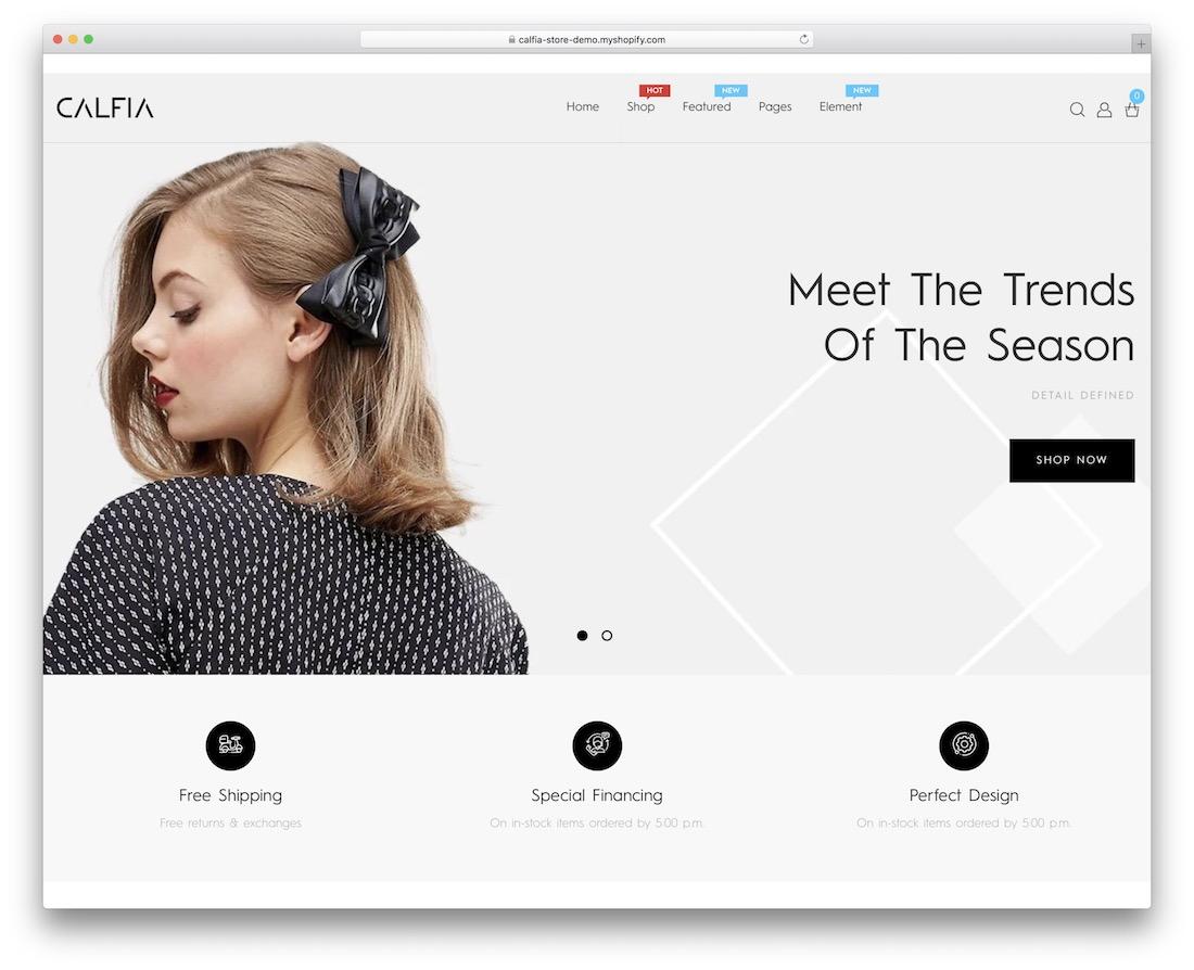 calfia minimal shopify theme