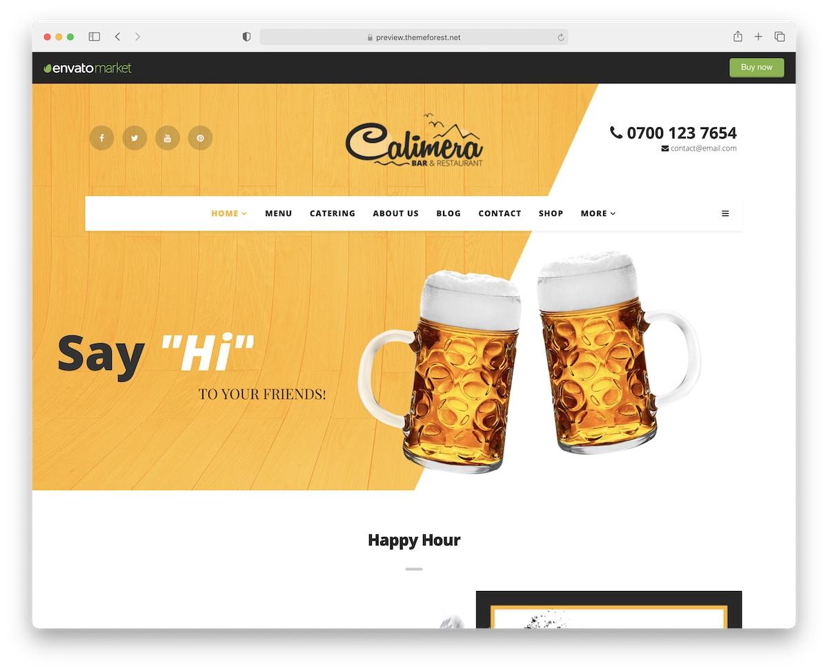 calimera wordpress theme for bars pubs