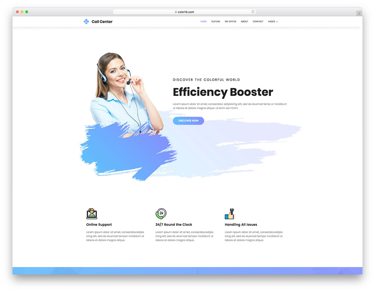 40 free responsive html5 business templates for startups 2018 colorlib callcenter free business website template fbccfo Image collections
