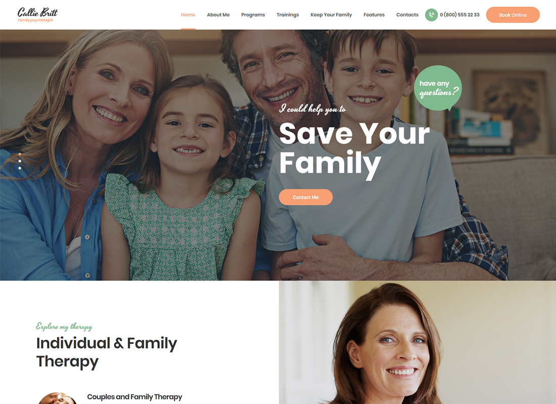 Callie Britt - Family Counselling Psychology WordPress Theme