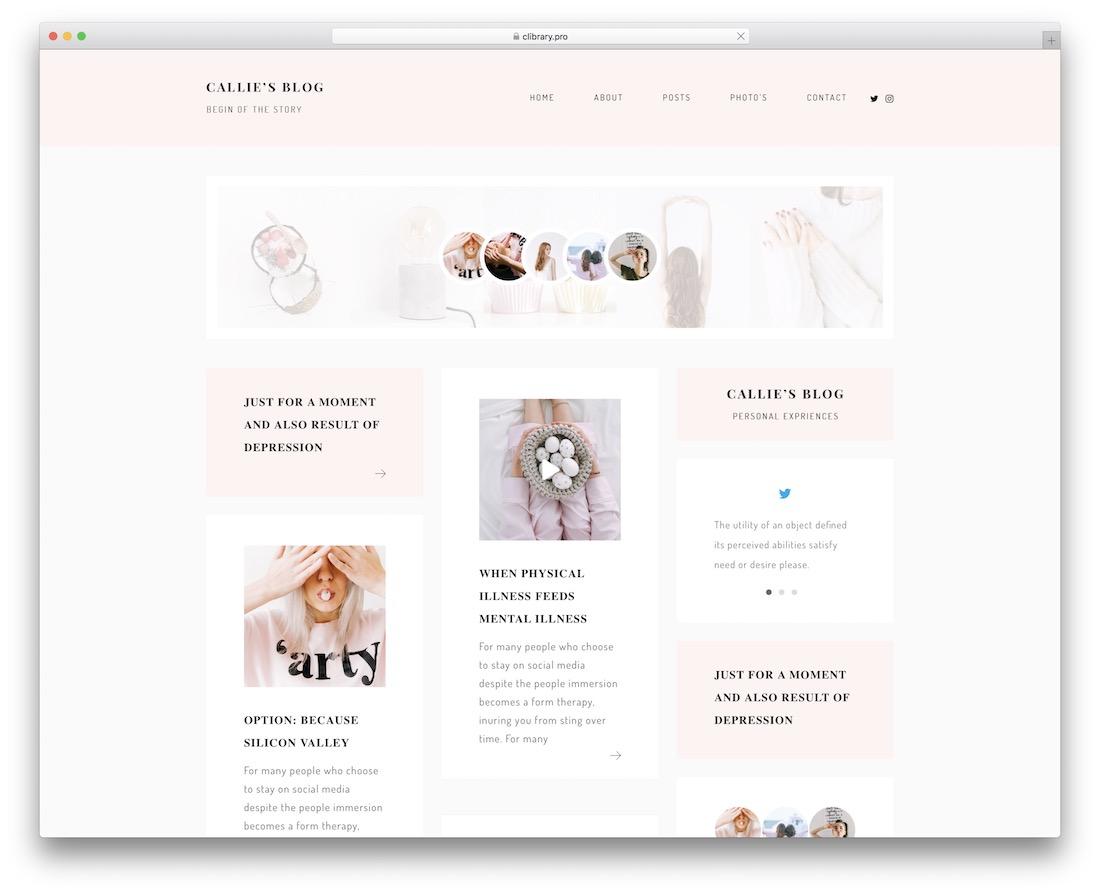 callie pinterest style wordpress theme