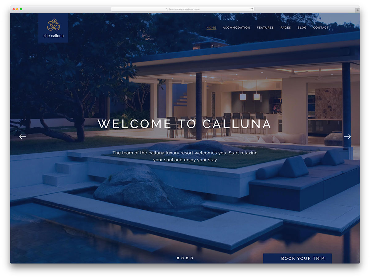 Calluna fullscreen hotel booking wordpress theme