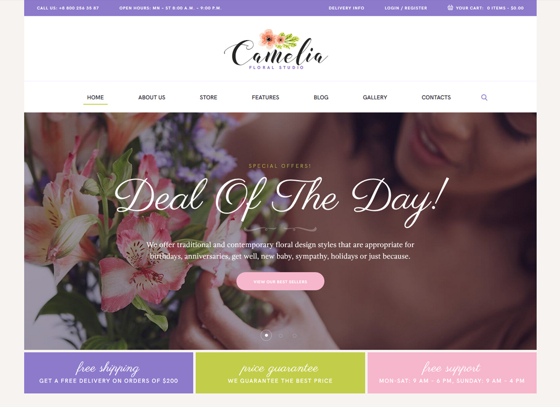 Camelia   A Floral Studio Florist WordPress Theme