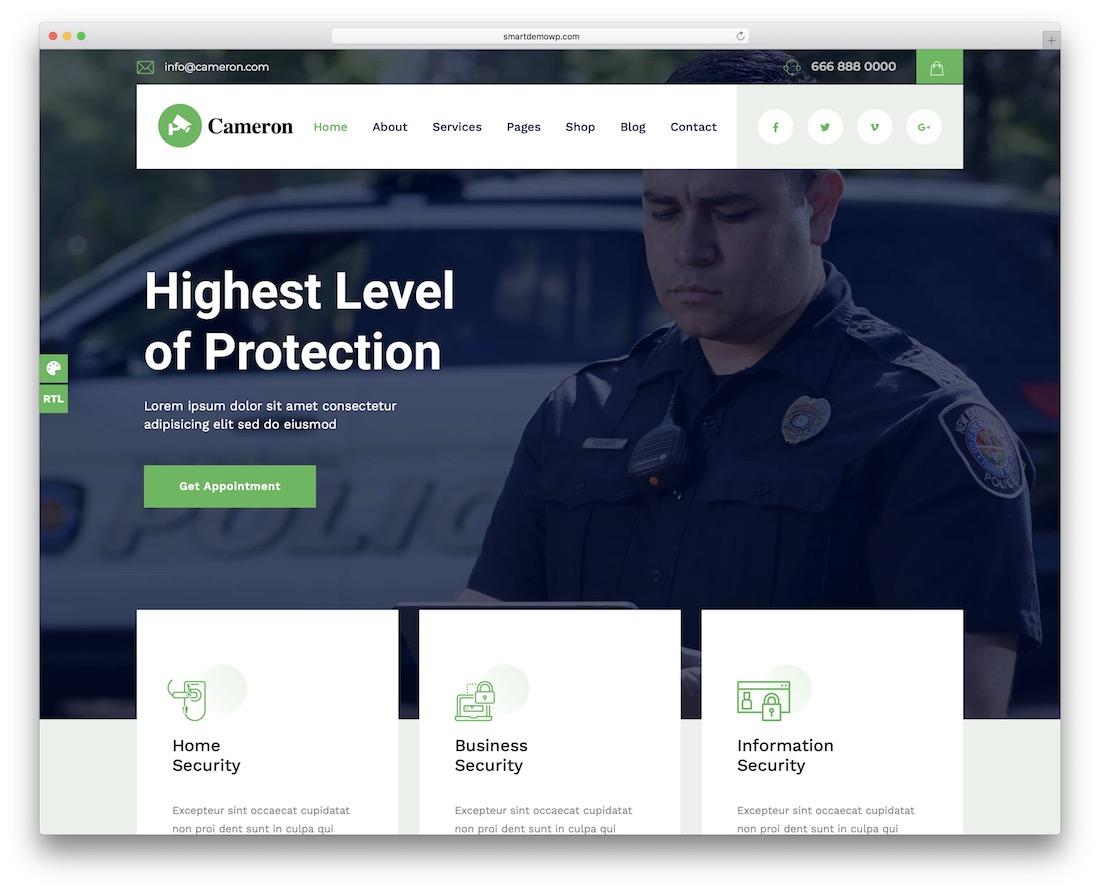 cameron security service wordpress theme