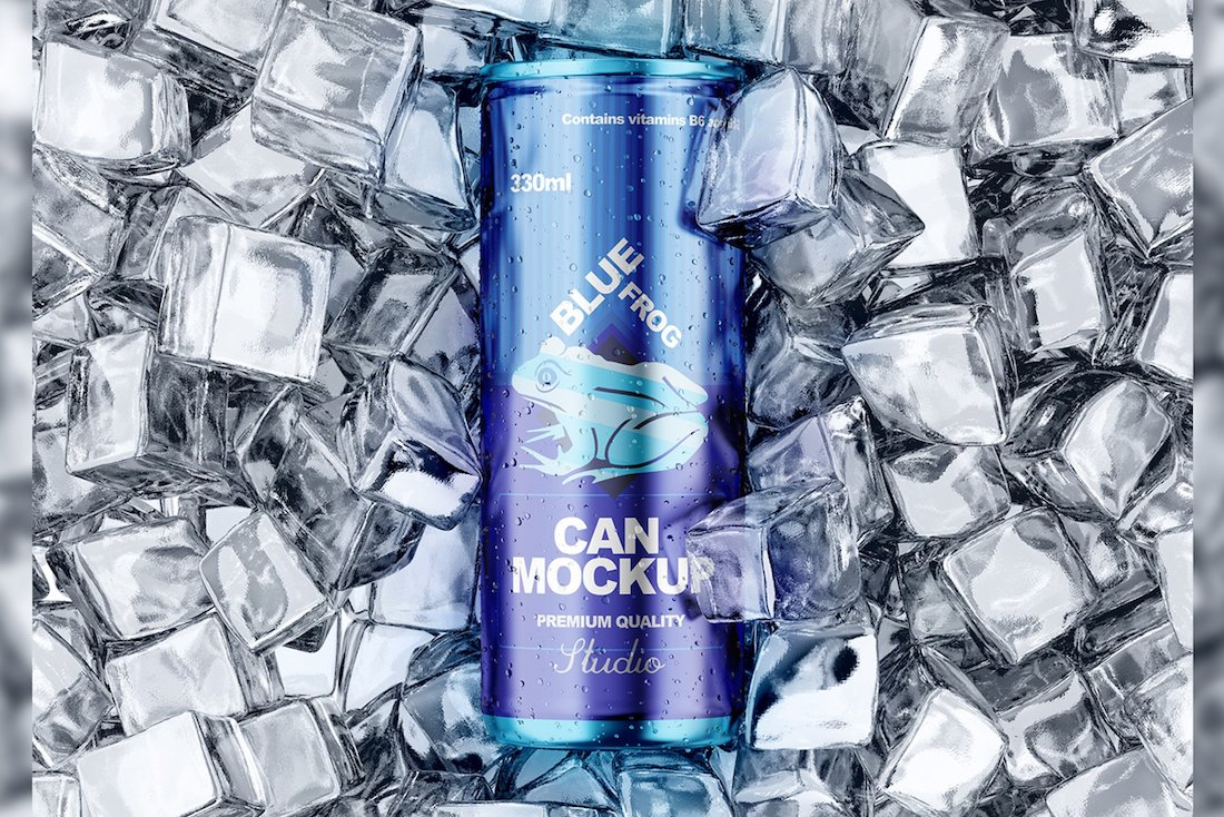 can with ice cubes mockup