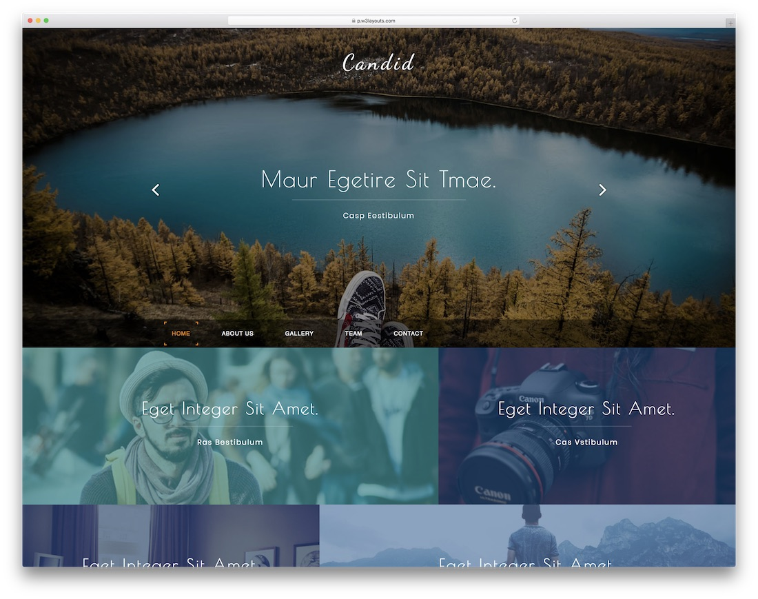 candid free bootstrap gallery template