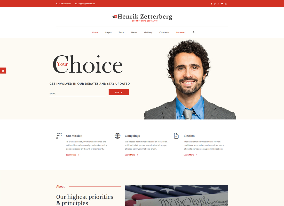 Candidate | Political, Non-profit WordPress Theme