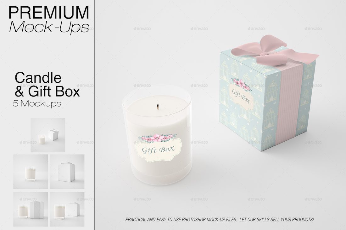 candle gift box set mockup