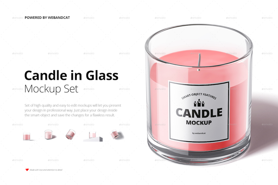 candle in glass mockup