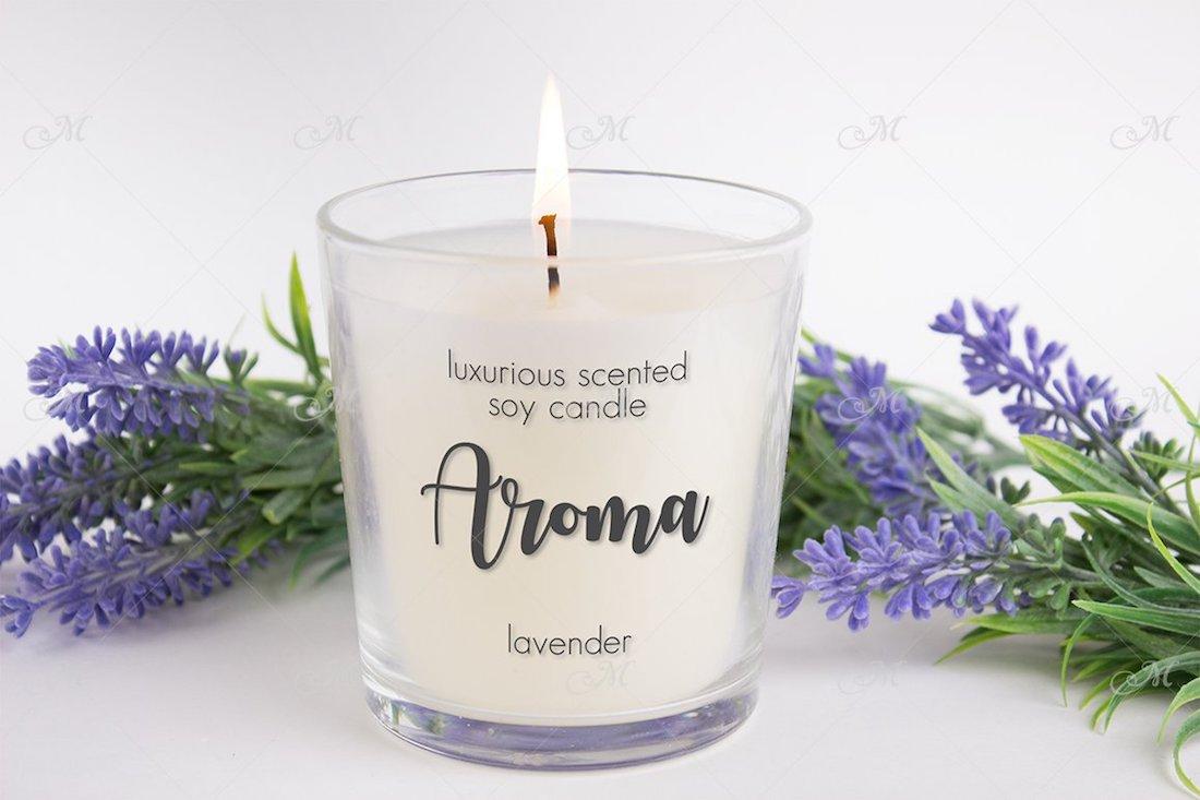candle lavender mockup