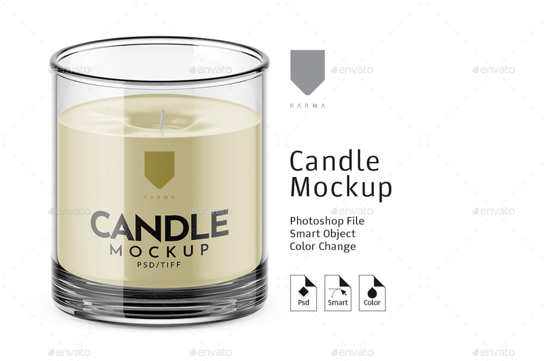 candle mockup with smart object layers