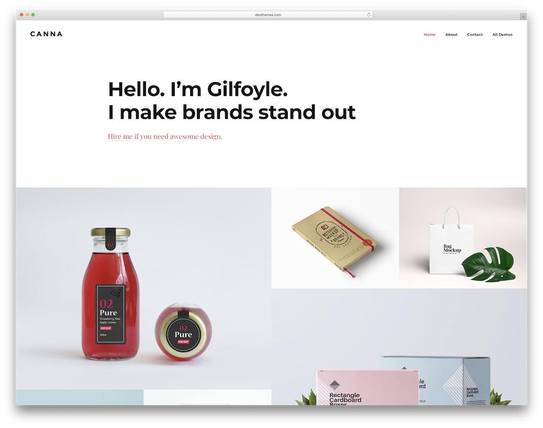canna design portfolio website template