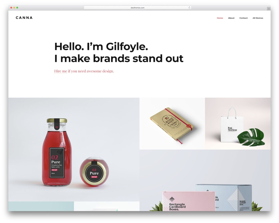 canna grid website template