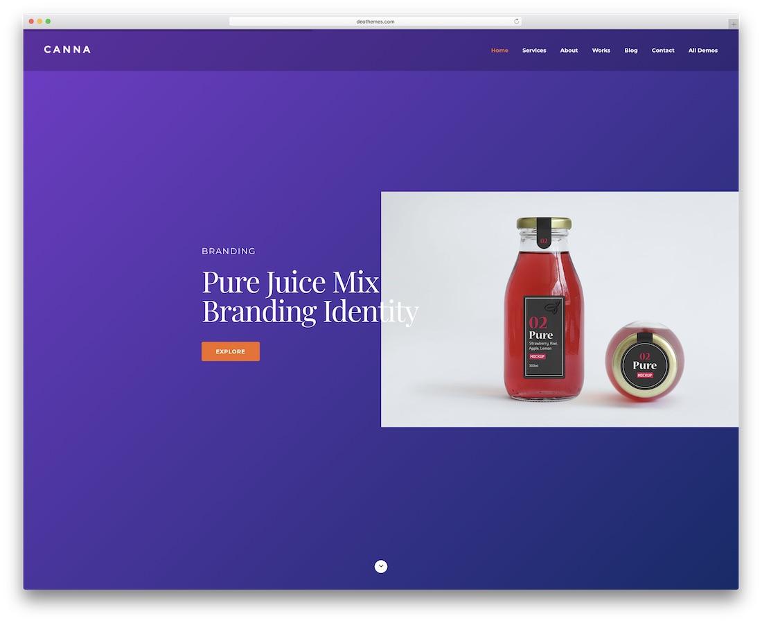 canna minimal website template