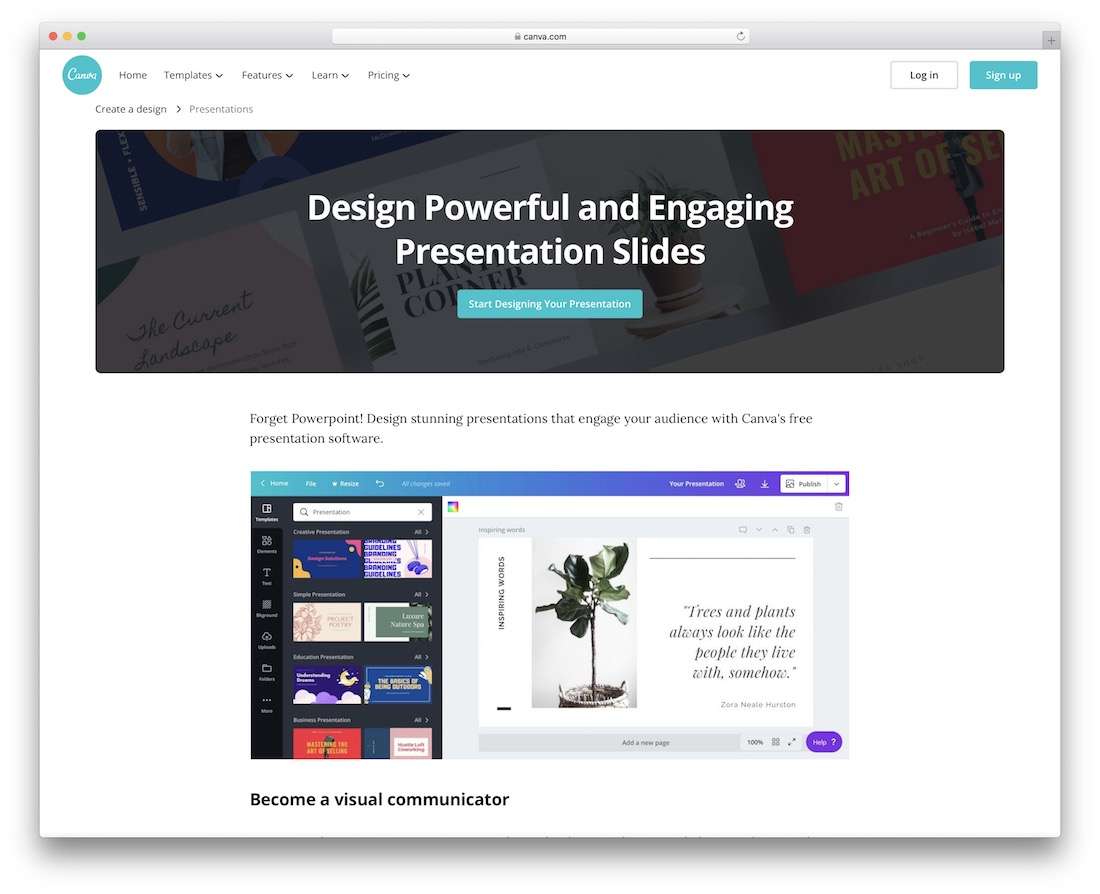 canva tool for creating and sharing presentations