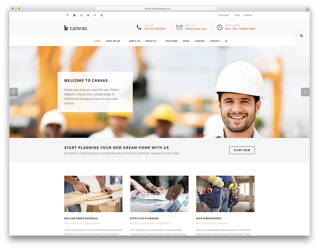 canvas HTML construction company template