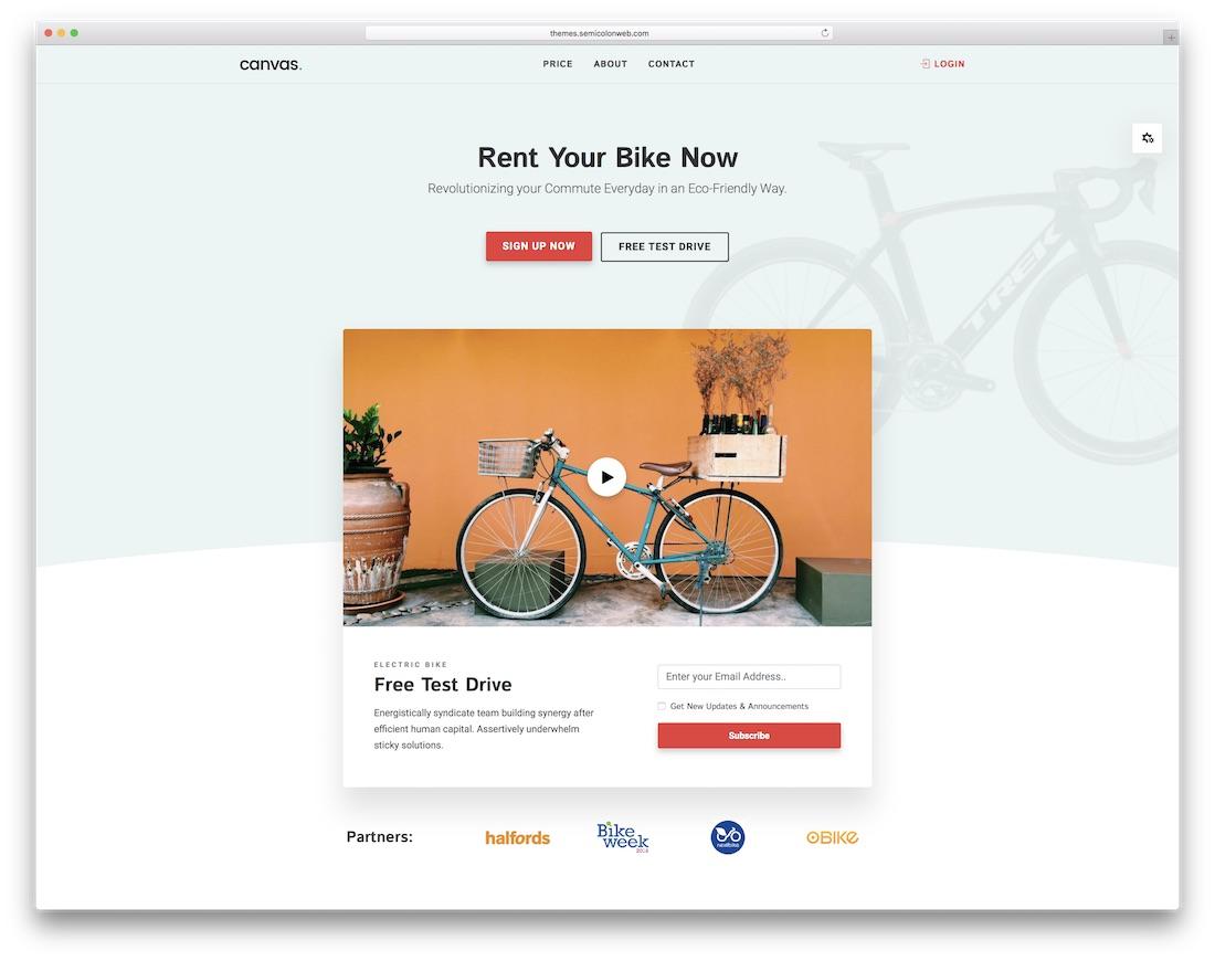 canvas interactive website template