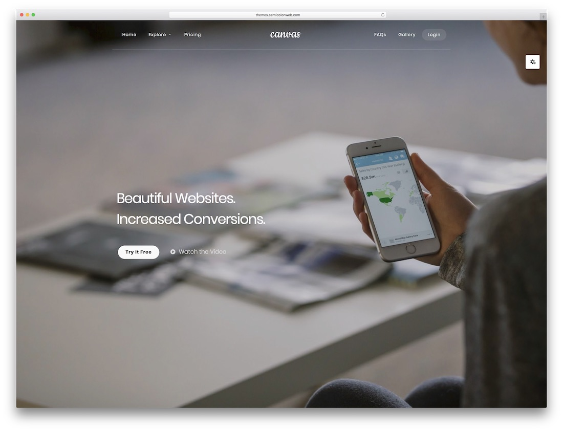 canvas software company website template