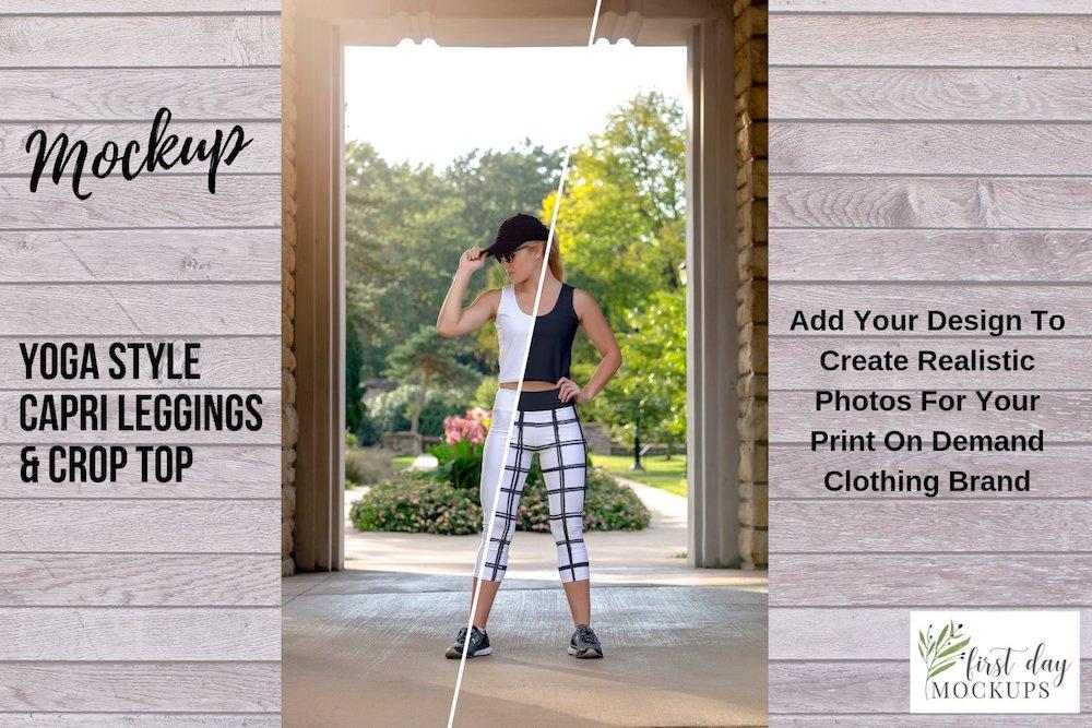 capri leggings crop top mockup