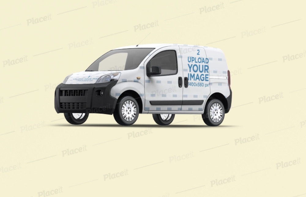 car decal mockup featuring a compact van with a full wrap