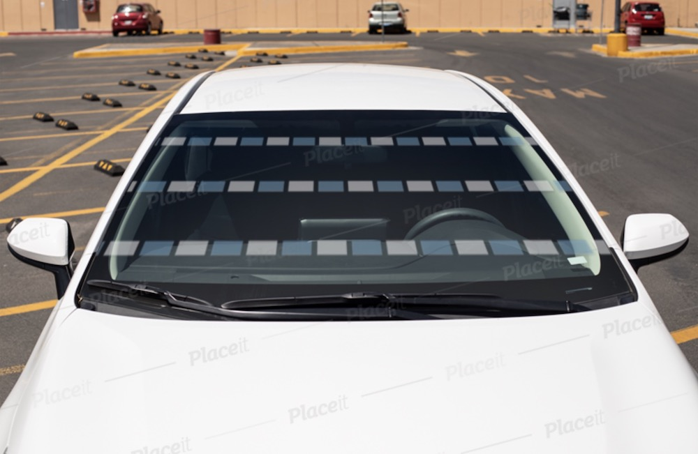 car decal mockup featuring windshield of a compact car