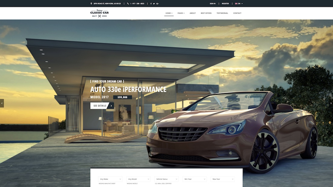 car finder website template
