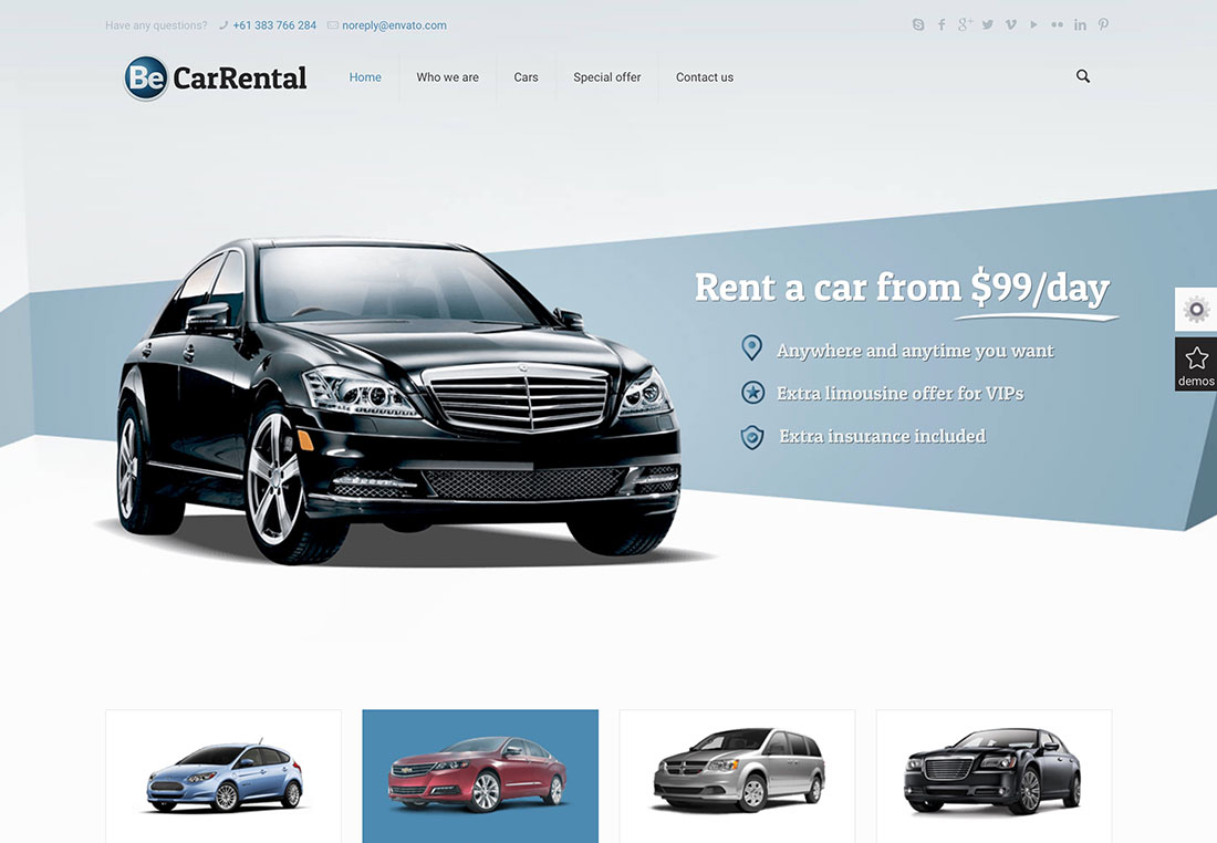 Top 15 Most Popular & Responsive Car Rental WordPress Themes 2017