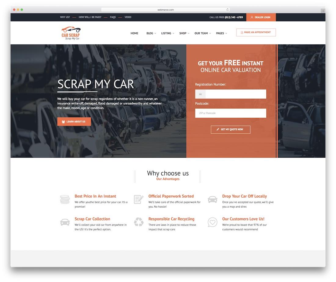 car scrap automotive website template